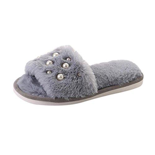 DIKEWANG Women Fashion Comfy Plain Rubber Spring Autumn Sandals Leisure Pearl Plush Non-slip Slippers