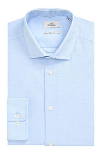 next Uomo Confezione da Due Camicie Blu con Stampa E A Tinta Unita Vestibilità Slim con Cravatta Vestibilità Slim Blu