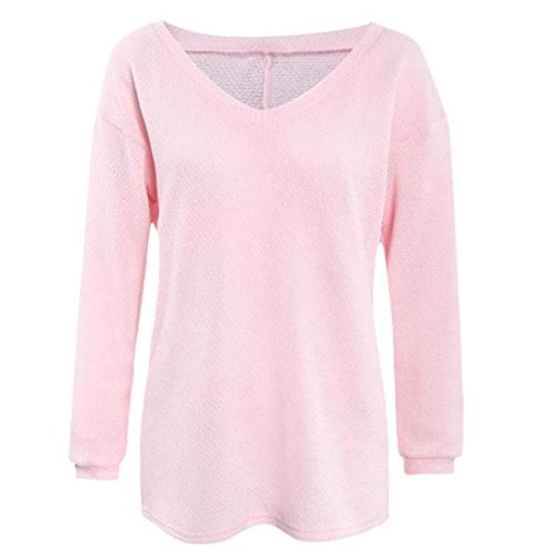 Tops, FEITONG Femme Manches Longues en maille Pull Ample Sweater Jumper Hauts Tricots Rose
