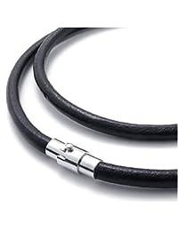 Kautschukhalsband, Halskette, Kautschukband mit rostfreiem Bajonet-Magnetverschluss aus Edelstahl KHB 505, versch.Laengen von ca. 38cm - 75cm