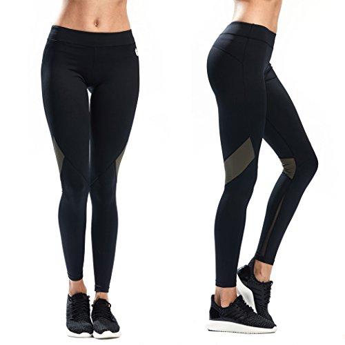 SILIK Frauen elatisch Netzgewebe Jogahose hochtaille mit Taschen verbundene Sporthose, Olivegrün, M