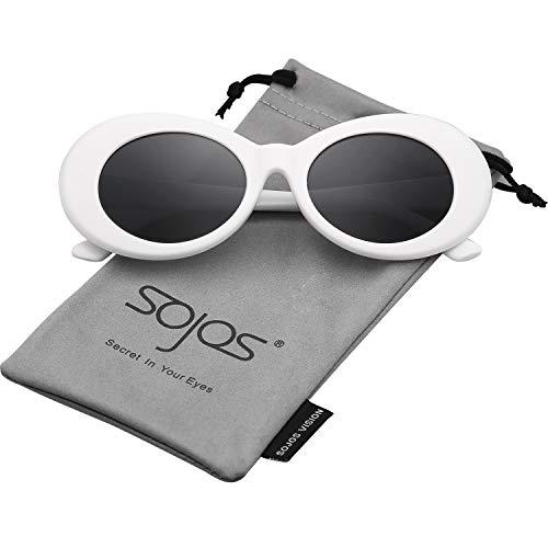 SOJOS Clout Goggles Ovale Mod Retro Vintage Kurt Cobain Inspiriert Sonnenbrille Runde Linse SJ2039...