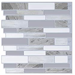 FAM STICKTILES Self Adhesive Tile Splashback, Peel and Stick Tiles Backsplash for Kitchen, Tile Stickers Modern Grey 10