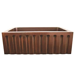 Whitehaus Haus 30 Inch Rectangular Undermount Sink With A Fluted Design Front Apron Smooth Copper