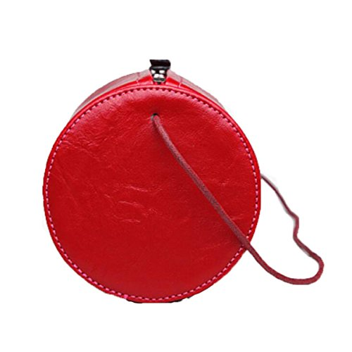 Borse Rotonde Della Spalla Retro Corea Corea Messenger Mini Mini Pack Cilindrico,Red Black