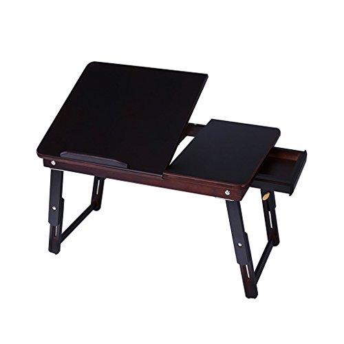 Brilliant firm Tische Beistelltische Verstellbarer Winkel des Bambusfalten-Computertisches kann den Schreibtisch Heben, um Computerschreibtisch zu erlernen (Color : Black) -