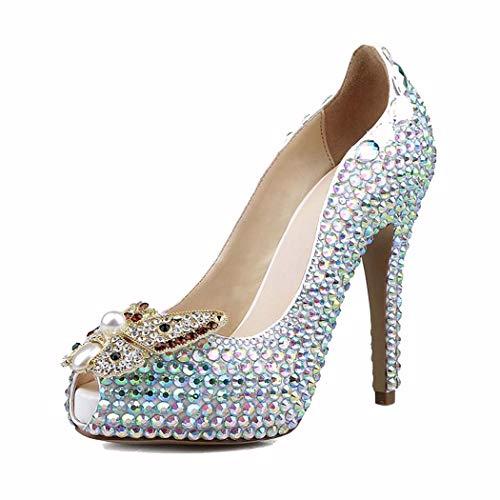 Ladies ' Catwalk Catwalk Nachtclub Fashion Single Shoes Silber Glas Diamant Fisch Mund Super High Heel Plattform Sexy (Fisch Plattform Schuhe)