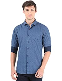 Blue Printed Full Sleeve Casual Shirt