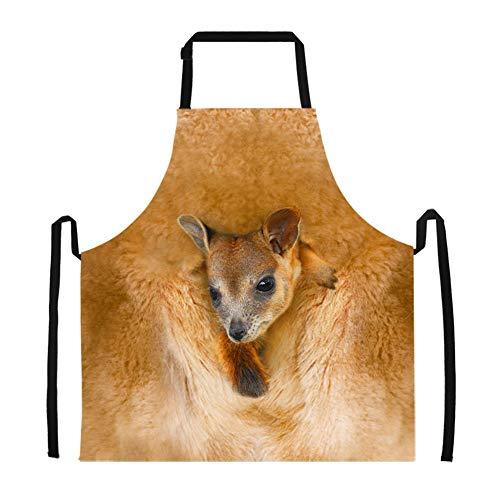 LarissaHi Cool Kangaroo Pattern Chef BBQ Schürzen zum Kochen Backen Grillen Lätzchen