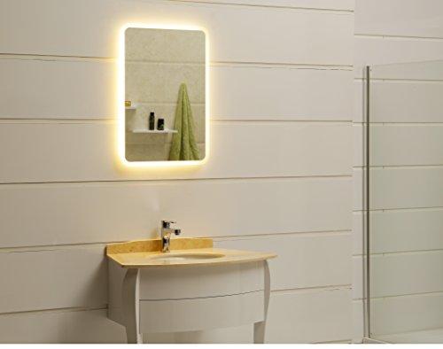 modernes Lichtspiegel Wandspiegel Badspiegel GS045N mit LED-Beleuchtung IP44 (40 x 60cm, warmweiß)