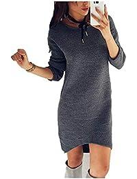 Donna Vestito In Jersey Autunno Invernali Eleganti Moda Maglioni Lunghi  Monocromo Rotondo Collo Manica Lunga Irregular 0484c941f20
