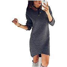 Donna Vestito In Jersey Autunno Invernali Eleganti Moda Maglioni Lunghi  Monocromo Rotondo Collo Manica Lunga Irregular 1970da55049