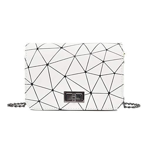 Frecoccialo Damen Umhängetasche Kleine Scherbe Gitter Design Geometrische Tasche Einzigartige Clutch Abendtasche Kettenbeutel(Weiß, Schwarz, Silber) (Bobby Pin Tasche)