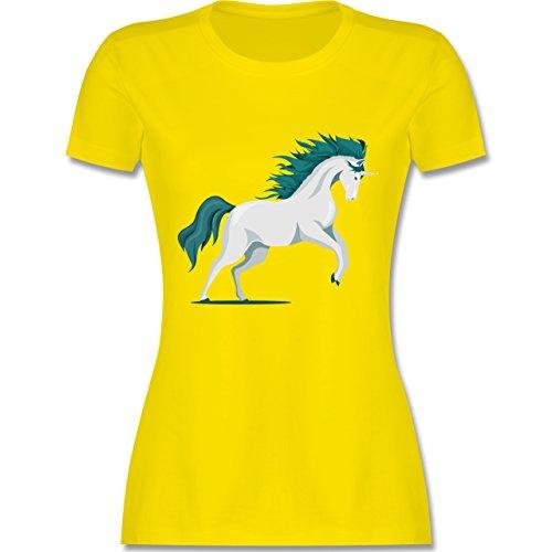 Shirtracer Einhörner - Steigendes Einhorn - Damen T-Shirt Rundhals Lemon Gelb