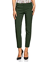 oodji Collection Damen Hose Basic mit Bügelfalten