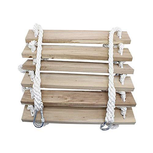 FIREDOPE Weiche Strickleiter aus Holz, Quadratisches Holz Fluchtsicherheitsleiter, Notarbeiten Selbstrettende rutschfeste Kletterseilleitern für den Außenbereich,10m/32ft
