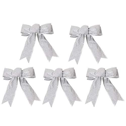 SUPVOX 5 teile/paket Glitzernde Stoff Weihnachten Band Bow Bowknot Weihnachtsbaum Party Geschenk Geschenk Weihnachten Dekoration Ornament Silber (Tree Bow Topper)