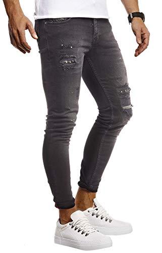 LEIF NELSON Herren Jeans Hose Stretch Slim Fit | Denim Blaue Lange Jeanshose für Männer | Coole Jungen weiße Freizeithose Schwarze mit Nieten Cargo Chino Sommer Winter Basic | LN9425 Schwarz W34L32 (Skinny-jeans Für Jungen)