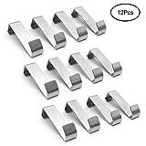 Tebery - Set di 12 ganci per porta, in acciaio INOX, utilizzabili singolarmente, senza fori