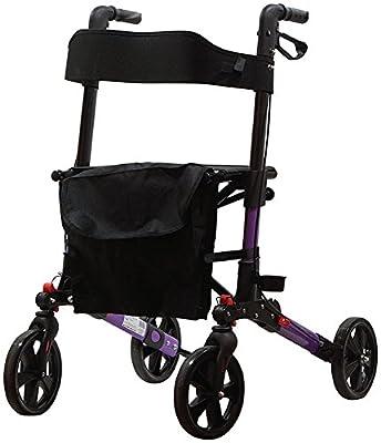 Aidapt Deluxe Fold Flat Rollator, Purple and Black