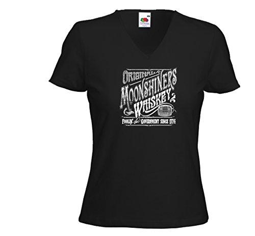 Booze Damen T-Shirt Moonshiners Whiskey Biker Redneck Rockabilly Schwarz