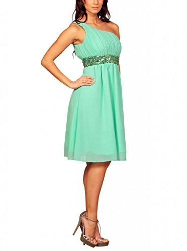 My Evening Dress- Robe de Cocktail et de Soirée à Une Epaule Pailletée vert menthe