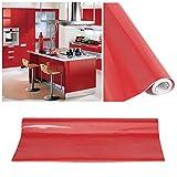 KINLO 10 * 0.61M Papier Peint Auto-Adhésif Rouge Armoire de Cuisine en PVC...