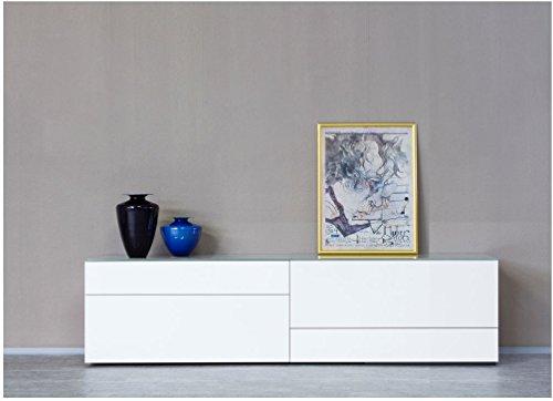 KITOON Sideboard/Lowboard (B 228 H 57 T 48 cm), Fußgestell, Reinweiß hochglanz (RAL 9010)