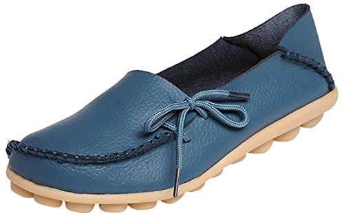 Scarpe da cuoio da donna in pelle Scarpe casual piatte in guida di sneaker in mocassini Blu