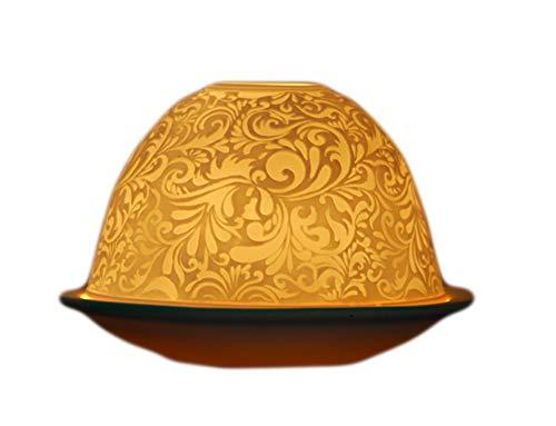 Light/dome photophore en porcelaine motif ornement