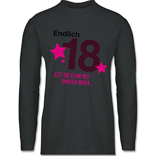 Geburtstag - Endlich 18 - Longsleeve / langärmeliges T-Shirt für Herren Anthrazit