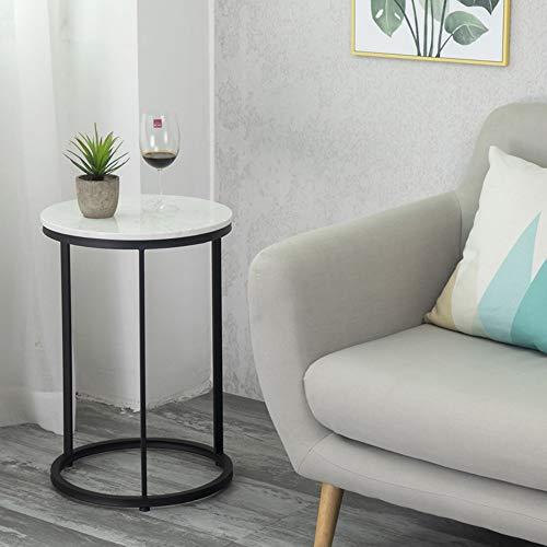 RKY Table d'appoint canapé Table Ronde en métal, comptoirs en marbre Modernes géométriques et Pieds de Table en métal, 40 x 60 cm, Disponibles en Deux Couleurs /-/ (Couleur : Noir)