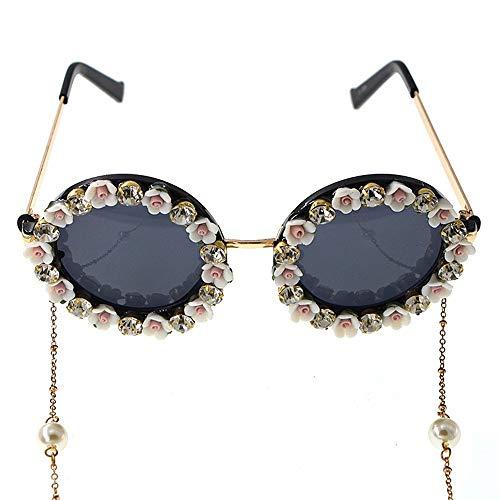 XHCP Frauen Klassische Sonnenbrille Romantische Rosa Rose Handgemachte Metall Gold Blume Barock Sonnenbrille Für Frauen Kristall Brillen Retro Stil Quaste Kette Sonnenbrille