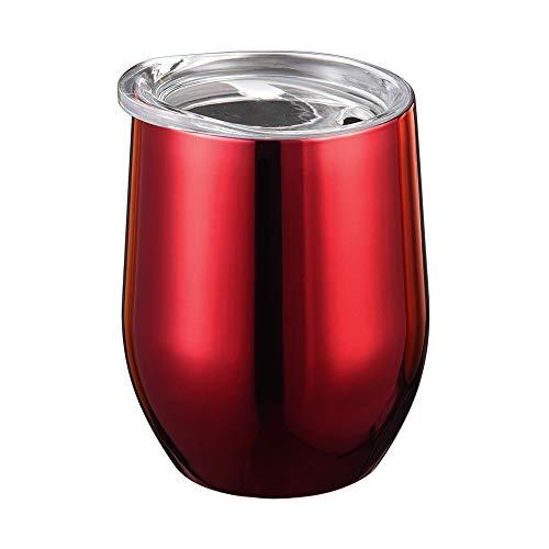 Jaminy Doppel-Isolierte Stemless Weinglas, Edelstahl Becher mit Deckel für Wein Wasser Kaffee Getränke Champagner Cocktail - 9oz (C)