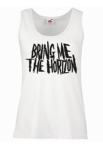 "Canotta Donna ""Bring me the horizon - grunge"" - 100% cotone LaMAGLIERIA, XL, Bianco"