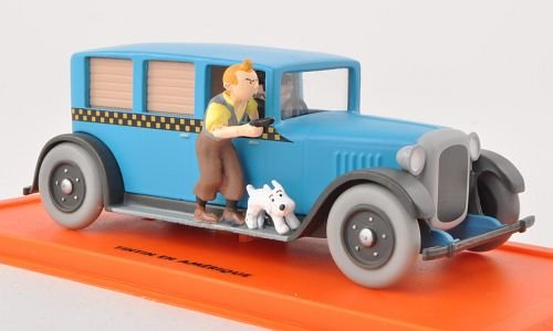 Checker Taxi, blau, mit Figuren aus Tim & Struppi , 1929, Modellauto, Fertigmodell, SpecialC.-64 1:43