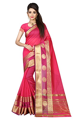 Arawins Womens Ethinc Clothing Pink Cotton Silk Sarees For Women Party Wear...