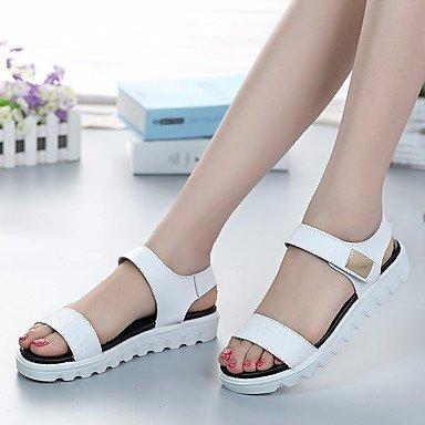 FSCHOOLY Scarpe Donna Primavera Estate Comfort Sandali Tacco Piatto Per Luce Casual Blue Bianco Nero Bianco