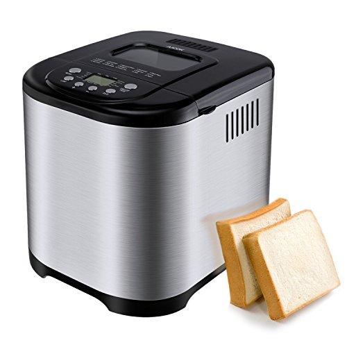 Aicok Brotbackautomat, 2.2LB Programmierbare Brotbackmaschine Edelstahlgehäuse mit 15-Stunden-Verzögerungs-Timer, 15 Programmen - Glutenfreie Vollweizen-Brotbackmaschine