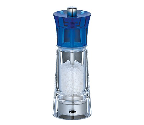 TopGourmet Cilio Genova Moulin à sel Acrylique Transparent Bleu 14 cm