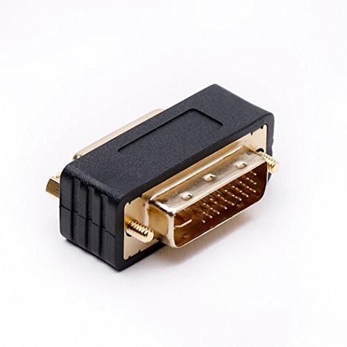 DVI-D Stecker zu DVI-I Buchse Adapter, DVI Adapter mit Doppelkupplung Monitoradapter Kompakte Bauweise Vergoldete Kontakte - Amp-adapter-kabel