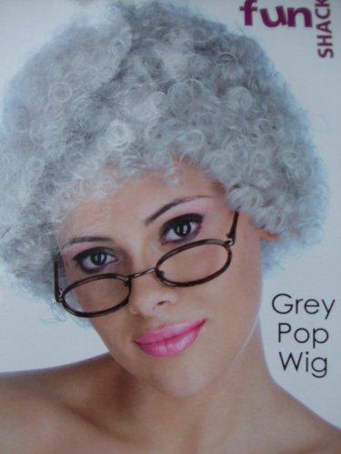 Graue Pop Perücke - Oma Perücke - Kostüm Perücke (Graue Kostüme Perücke)