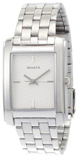 41Hx74r6scL - Sonata ND7953SM01J Classic Silver Mens watch