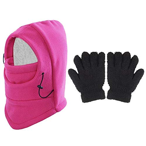 TUPARKA 3 Stücke Sturmhaube Winter Kinder mit 1 Paar Handschuh, Kinder skimaske Gesichtsmaske Nackenwärmer - 8 1 Größe Ausgestattet Hüte 2