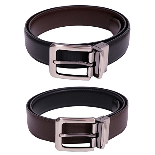 CALVADOSS PU_Leather (Leatherite) Reversible Party Mens Belt Black Brown Triangle Design with Steel Finish Reversible Turning Pin Buckle CLB-1054 J 42