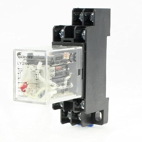 AC 220V Ressort 8 Broches DIN Rail électromagnétique Relais De Puissance 8 broches 10A LY2NJ Base de