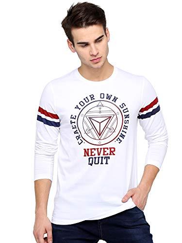 Maniac Printed Men's Full Sleeve Round Neck Cotton T-shirt (White, Medium)