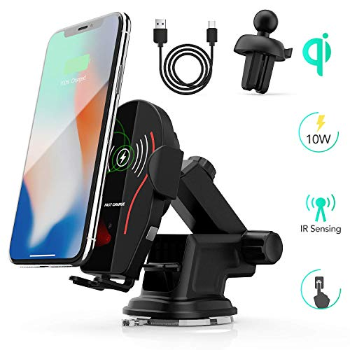 AGPTEK Handyhalterung, Qi Handy Halterung, KFZ drahtloses Ladegerät, Auto Wireless Charger Kompatibel für iPhone XS Max/Xs/Xr/X/8/8Plus,Galaxy S9/S8/S7/S6,Note 5/8, Schwarz