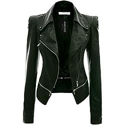 ANGVNS Chaqueta cazadora biker Jacket de cuero entallada en varios colores para mujer