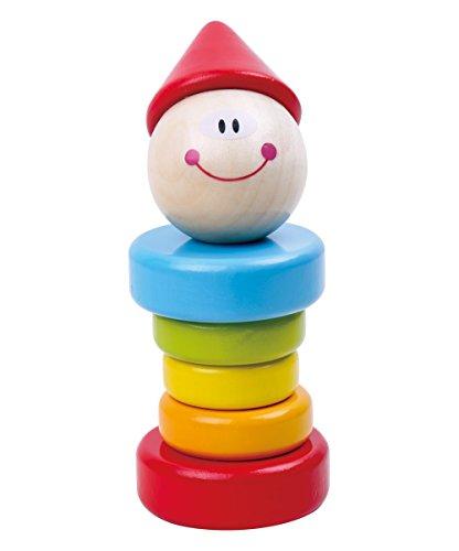 Tooky Toy Clown-Rassel für Babys und Kleinkinder in bunten Farben mit Holzringen für tollen Rasseleffekt ca. 5 x 13 cm